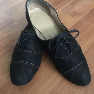 Black Suede Oxfords with Contrast Stitching